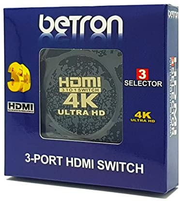 Betron HDMI Mini Switch Box 3 Port HDMI Switcher Plug Play Supports 4K 3D 1080P HD Ideal for Sky PS4