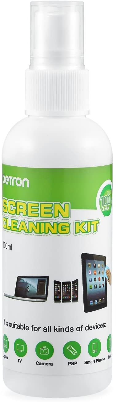 Betron Screen Cleaner 100ml Cleaning Brush and Fine Microfibre Towel for PC, LCD, LED, TFT, HD TV's