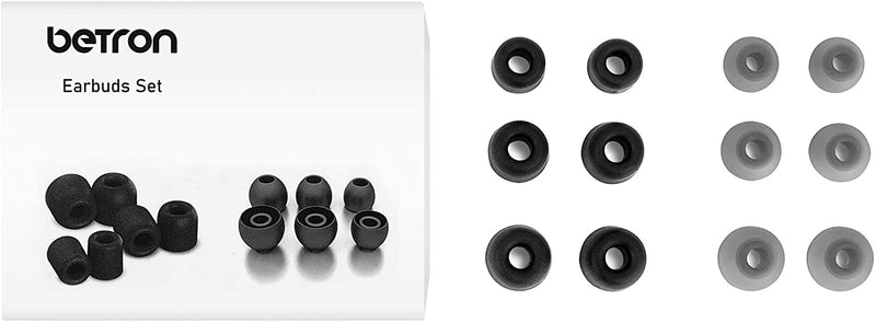 Betron Replacement Earbuds Silicone and Memory Set Betron Earphones In Ear Tips 6 pairs
