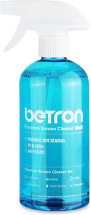 Betron TV Screen Cleaner Including Microfibre Clothes and Dust Brush for LED, HDTVs, PC Monitors, Tablets, Laptops, Smartphone, Camera Lenses, 500ml