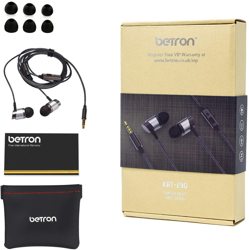 Betron KRTE90 Noise Isolating In Ear Headphones With Mic High Powered Bass Versatile Earphone