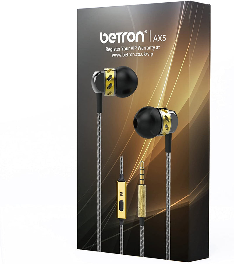 Betron AX5 Earphones Microphone Noise Isolating Bass Driven Sound iPhone Samsung Android Devices