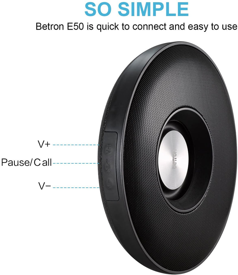 Betron E50 Bluetooth Wireless Speaker Compact Portable Stereo Sound Meter Range iPhone Samsung Black