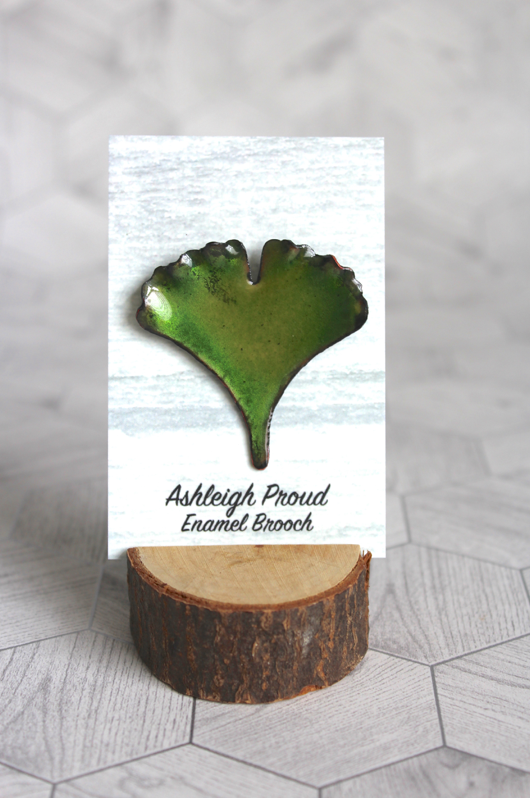 Green Ginkgo Brooch