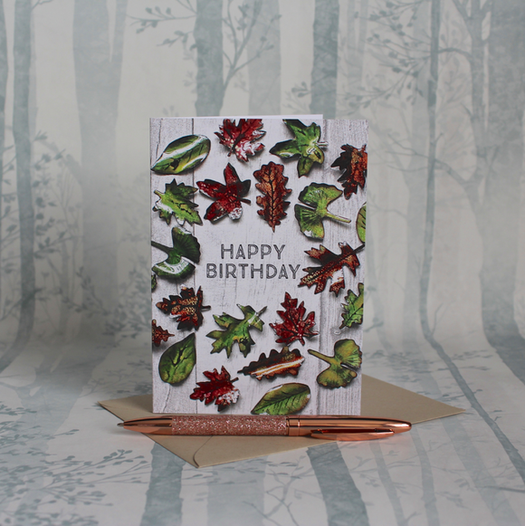 Fallen Leaves Birthday Card