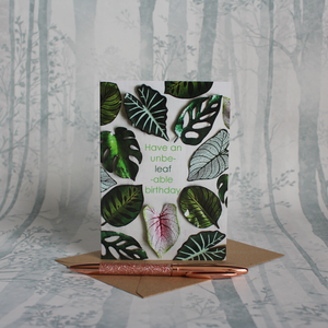 Houseplant Unbe-Leaf-Able Birthday Card