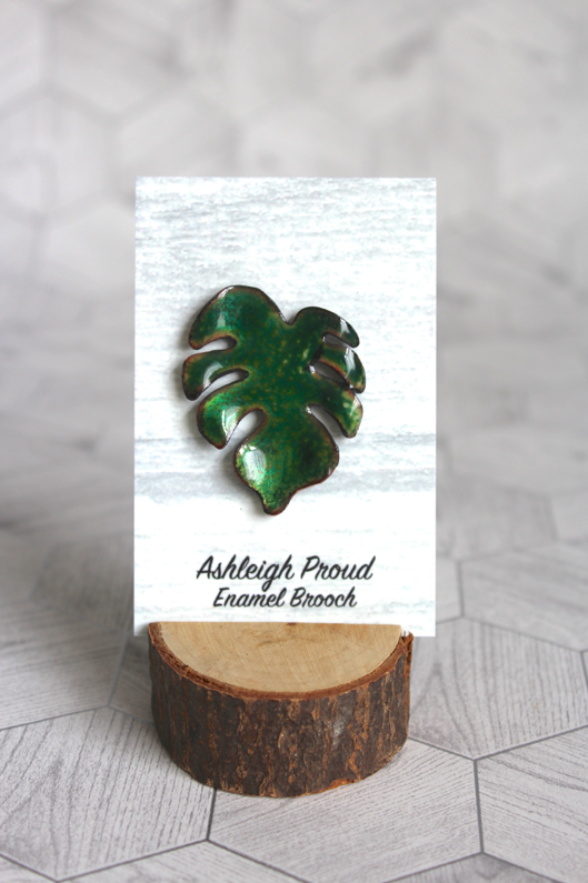 Green Monstera Brooch