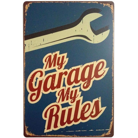 """My Garage My Rules"" Retro Metal Tin Sign"