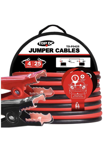 Jumper Cables 4 Gauge 25 Feet Heavy Duty Booster Cables with Carry Bag
