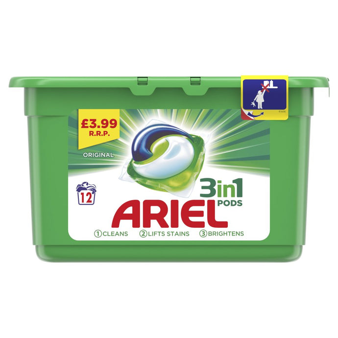 Ariel 3 in1 Pods Original Washing Liquid Capsules 12 Washes - UCSFresh