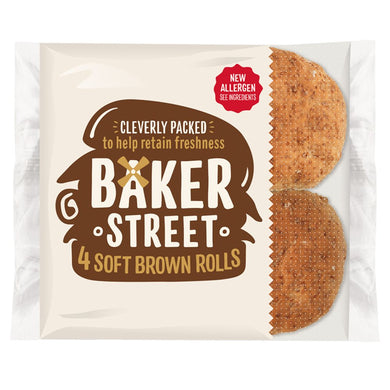 Baker Street 4 Soft Brown Bread Rolls - UCSFresh