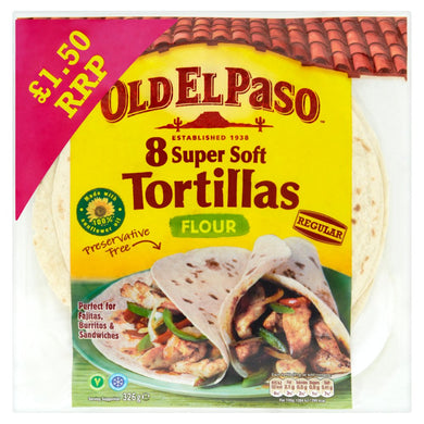 Old El Paso Regular Super Soft Flour Tortillas x8 326g - UCSFresh
