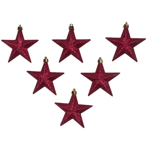 Pack Of 6 X 100mm Burgundy Shatterproof Star Hanging Decorations - UCSFresh