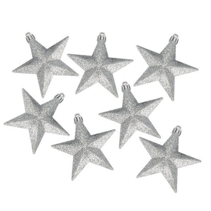 Pack Of 6 X 100mm Silver Shatterproof Star Hanging Decorations - UCSFresh