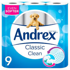 Andrex Classic Clean White Toilet Paper, 9 Rolls - UCSFresh