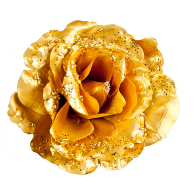 Gold Fabric Rose with Glitter on Clip - 10cm - UCSFresh