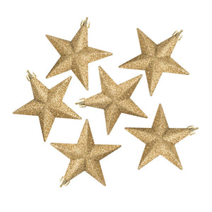 Pack Of 6 X 100mm Gold Shatterproof Star Hanging Decorations - UCSFresh