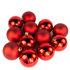Christmas Red Baubles - Shatterproof - Pack of 12 x 60mm - UCSFresh