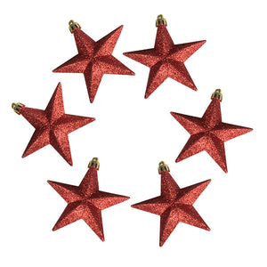 Pack Of 6 X 100mm Red Shatterproof Star Hanging Decorations - UCSFresh