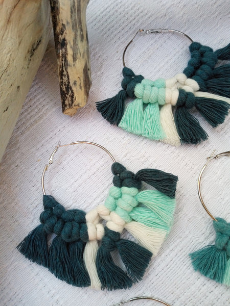Large Hoop Macrame Earrings