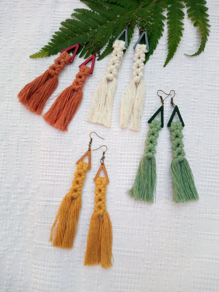 Green Wooden Tassel Earrings