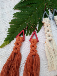 Red Wooden Tassel Earrings