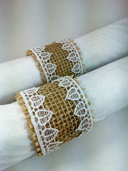 Burlap and Lace Napkin Ring