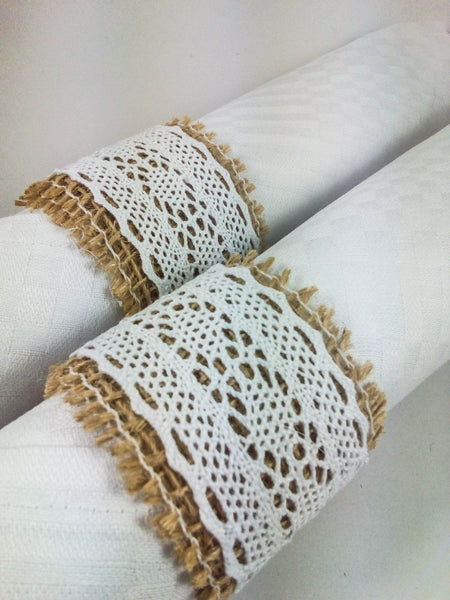 Burlap and Lace Napkin Rings
