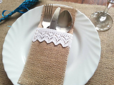 Burlap And Lace Cutlery Pockets