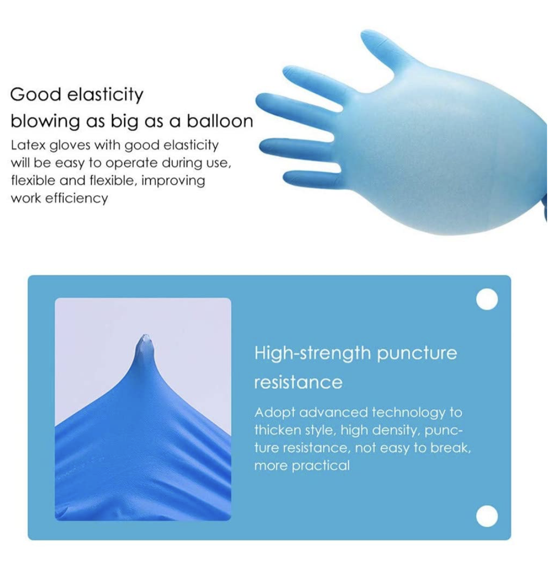 100 count. Latex Blue Protective Gloves