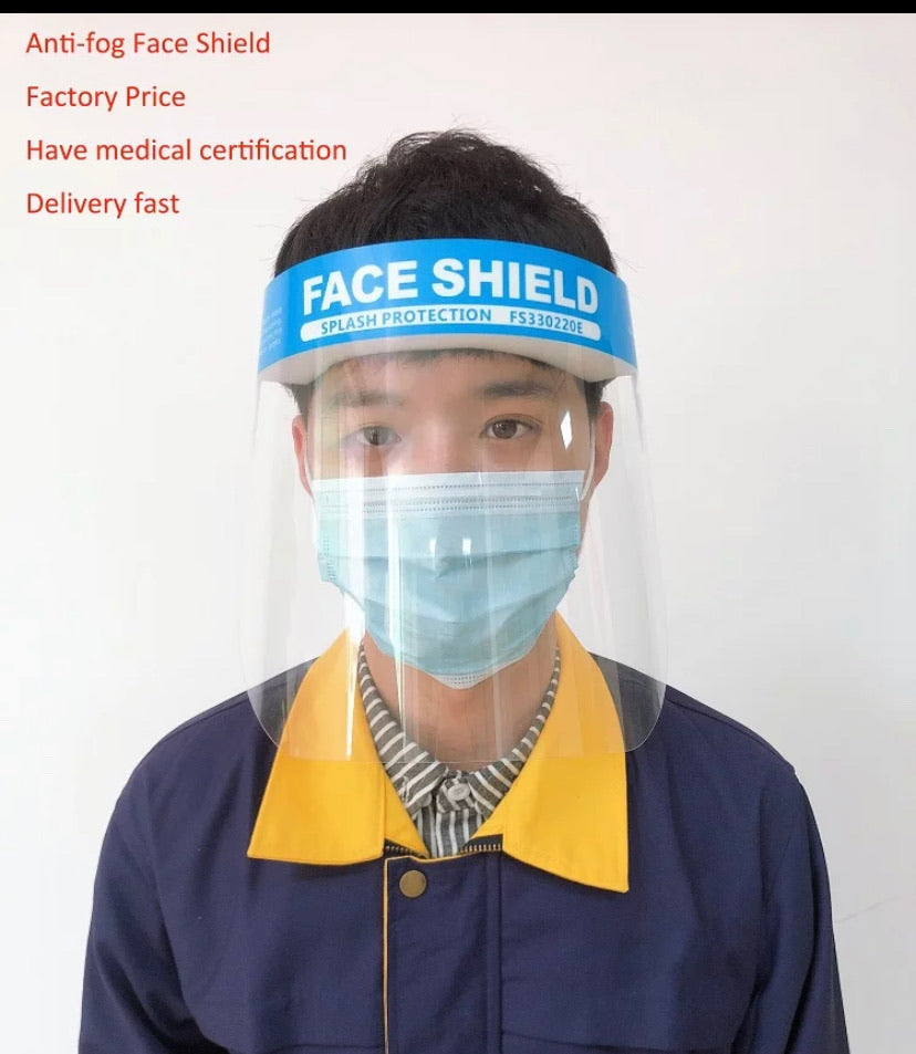 Face Shield for Protection with Glasses Reusable Clear Mask 10 PCS Anti-Fog No Installation Required with Comfortable Sponge and Elastic Band for Women Men