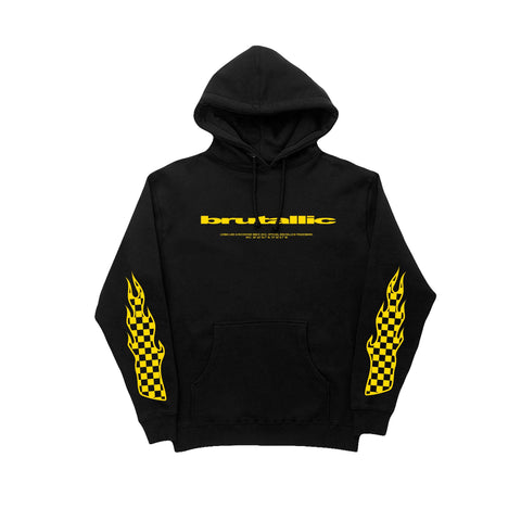 Rockstar hoodie with yellow logo and flames down both sleeves with checkerboard flames