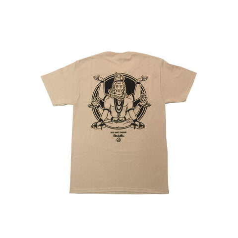 Brutallic Streetwear bubble tea tshirt with oval front logo, and buddha on the back, tan beige khaki color shirt