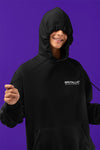Black hoodie Brutallic Coordinates NYC silly girl woman with hood covering her face
