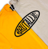 Brutallic Streetwear bubble tea tshirts with oval front logo, and buddha on the back, khaki tan beige color and mustard yellow color shirt close up of cropped front logos split in the middle