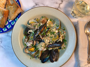 Garlicky Steamed Mussels and Clams