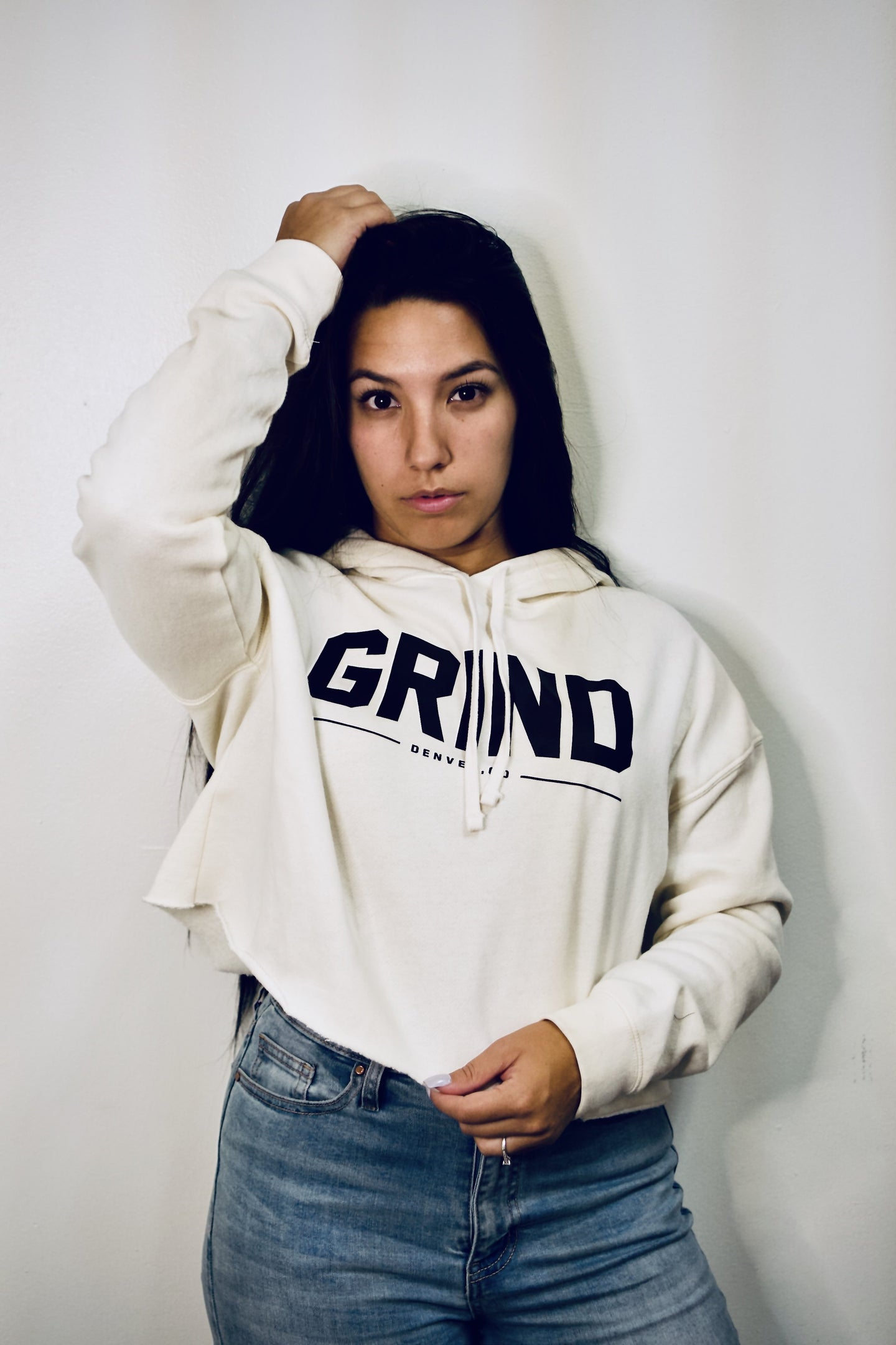 GRIND Crop Top Hoodie - Bone - On The Grind