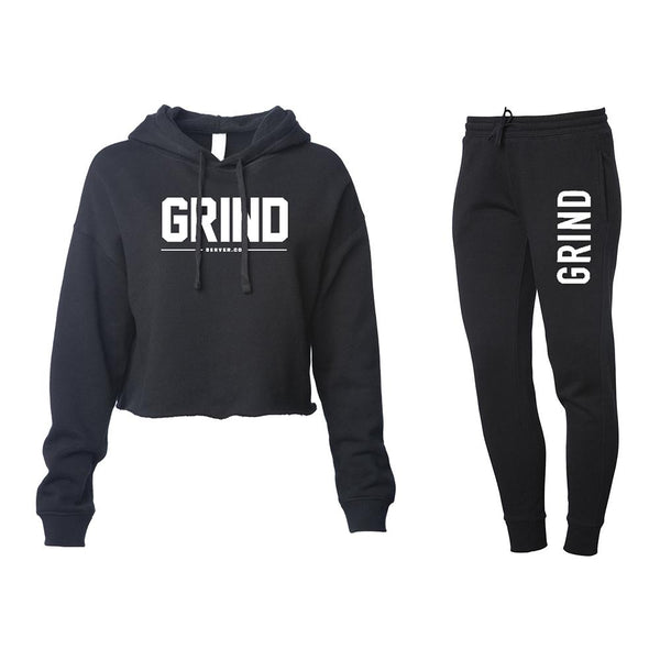 Women's GRIND Crop Top & Sweatpants Set - Black - On The Grind
