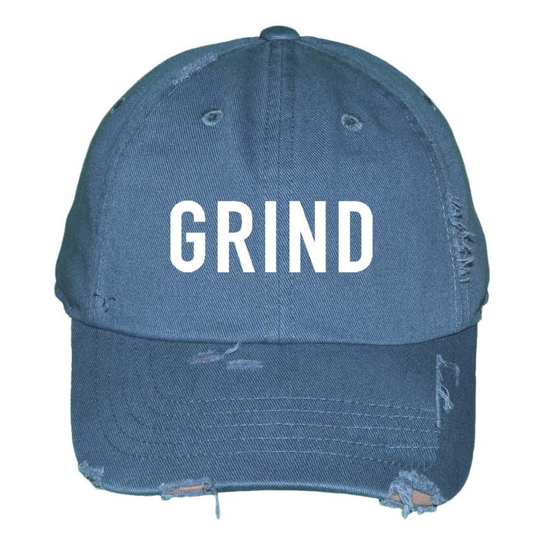Distressed GRIND Dad Hat - Denim - On The Grind