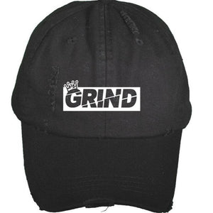 Distressed GRIND Box Logo Dad Hat - Black