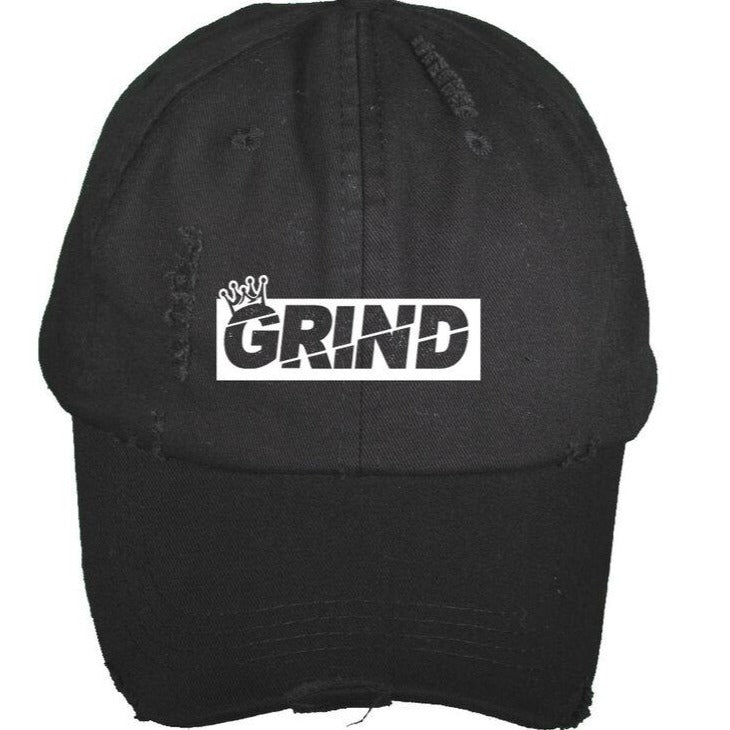Distressed GRIND Box Logo Dad Hat - Black - On The Grind