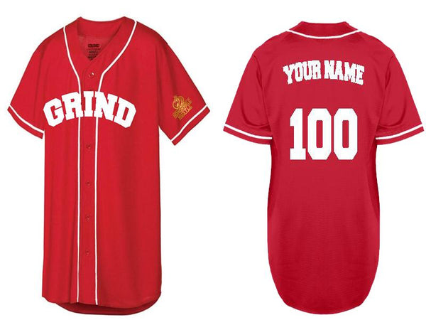 Customizable GRIND Jersey - Red/White - On The Grind