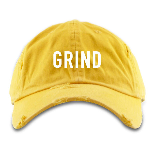Distressed GRIND Dad Hat - Yellow - On The Grind