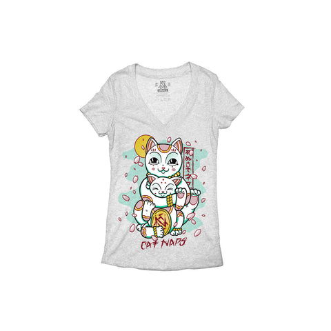 Newaza Apparel <br> Cat Naps <br> Ladies Heather Deep V-Neck