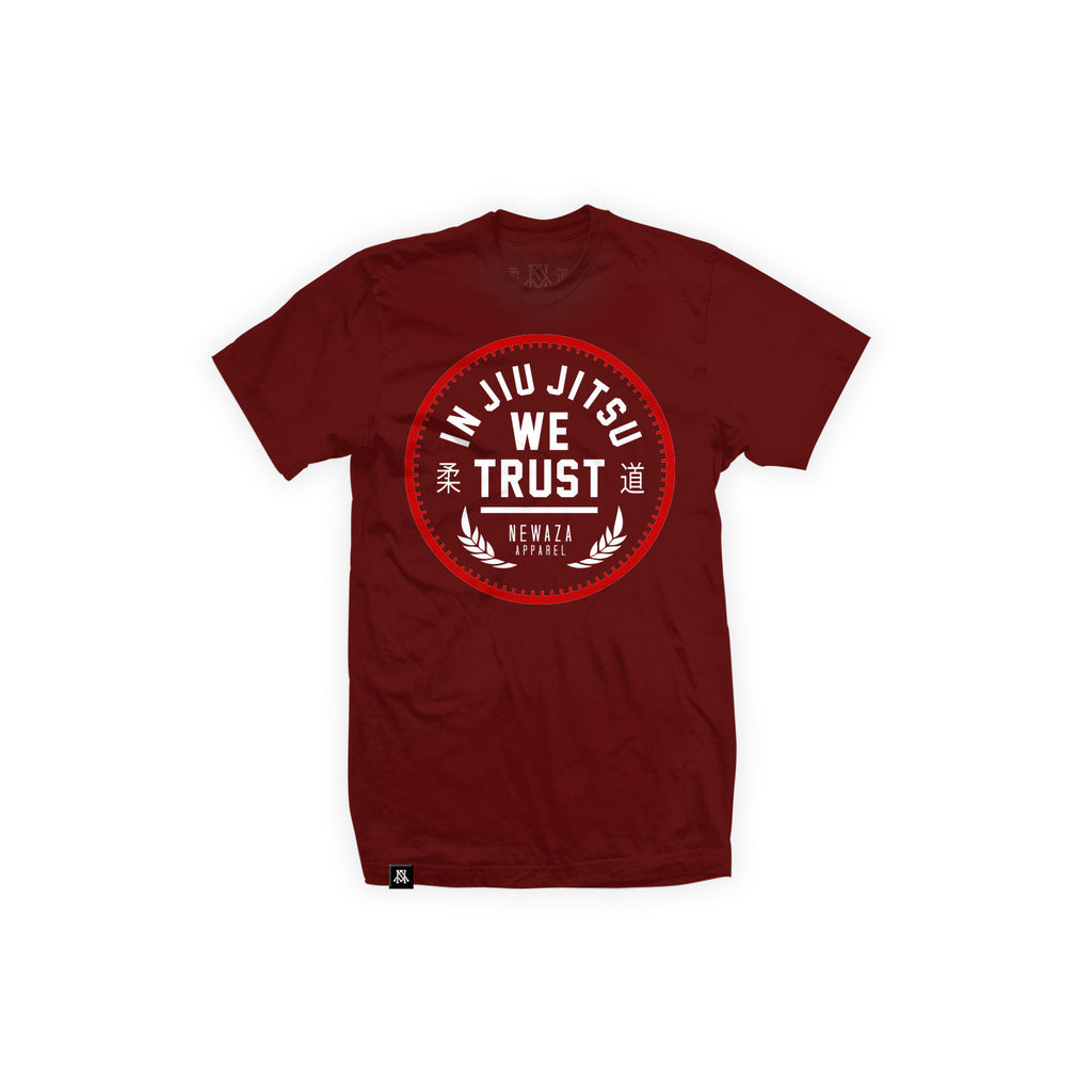 Newaza Apparel <br> In JiuJitsu We Trust<br> Red on Maroon