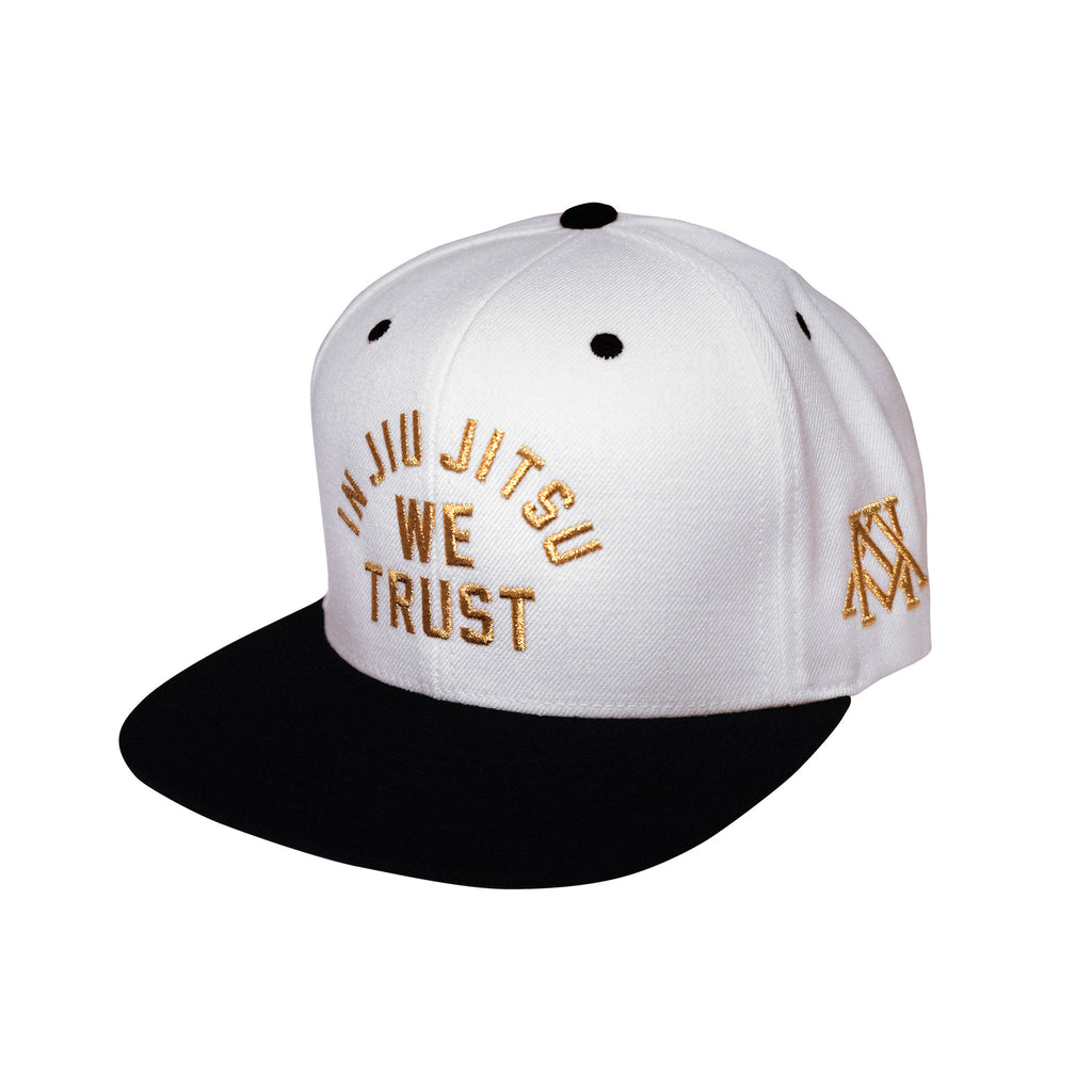 Newaza Apparel<br> In Jiu Jitsu We Trust Hat<br> Metallic Gold on White