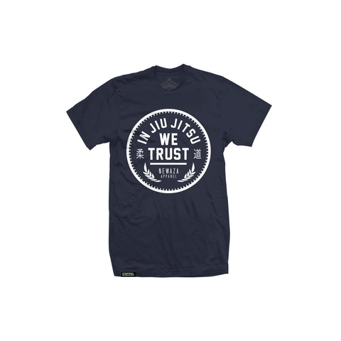 Newaza Apparel <br> In JiuJitsu We Trust <br> White on Blue