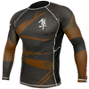 Hayabusa <br> Metaru 47 Silver Rashguard <br> Long Sleeve Brown