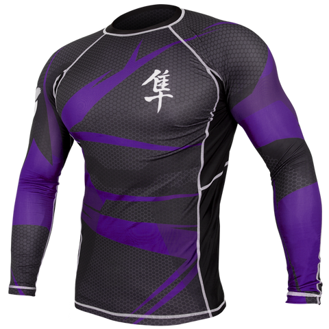 Hayabusa <br> Metaru 47 Silver Rashguard <br> Long Sleeve Purple