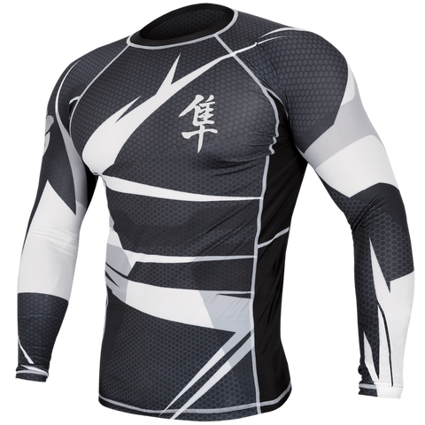 Hayabusa <br> Metaru 47 Silver Rashguard <br> Long Sleeve White